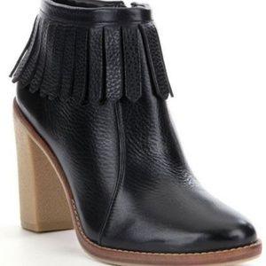 New Antonio Melani Black Leather Ankle Boots